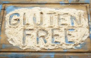 Gluten free written in flour